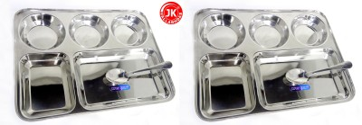 Jk Vallabhdas Dinner Plate With 5 Partitions Pack of 2 Dinner Set(Stainless Steel)