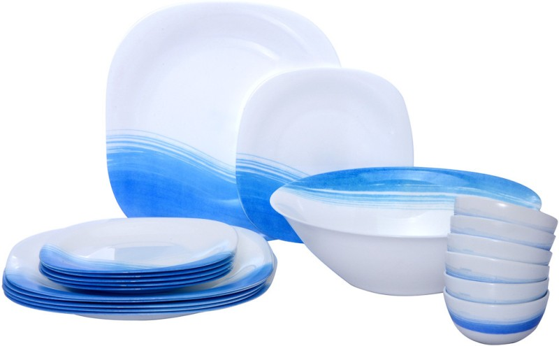 Luminarc Carine Blue Wave Pack of 19 Dinner Set(Glass)