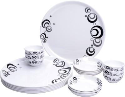 MEHUL Glazed Melamine Black Bubble Exclusive Thali Set Pack of 18 Dinner Set