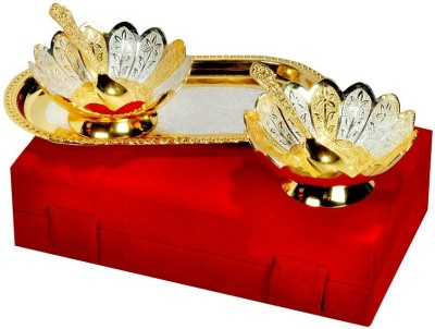 Adiidev Silver And Gold Plated Floral Shaped Brass Bowl And Tray Set Of 5 Pcs Pack of 5 Dinner Set(Brass) at flipkart