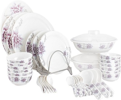 White Gold Purple Beauty Pack of 44 Dinner Set(Melamine)