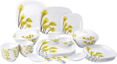Mehul Glazed Melamine D-4003 Five Flower 31 Pcs Pack of 31 Dinner Set