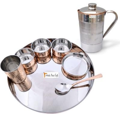 Prisha India Craft Indian Traditional Dinnerware Stainless Steel Copperware Thali Set - Diameter 13 Inch Pack of 8 Dinner Set