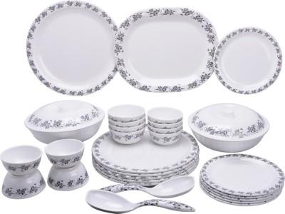 Mehul Glazed Melamine D-3001(912) Grey fern 31 Pcs Pack of 31 Dinner Set