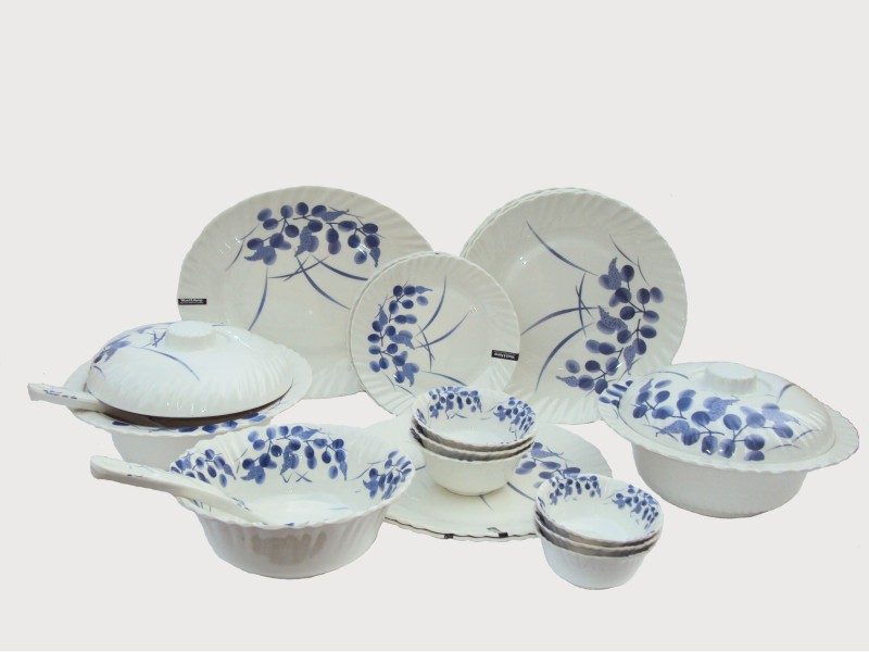 Maria Glossy Melamine Pack of 32 Dinner Set(Melamine)