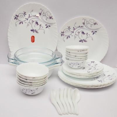 La Opala Dazzle Purple Pack of 35 Dinner Set(Ceramic)