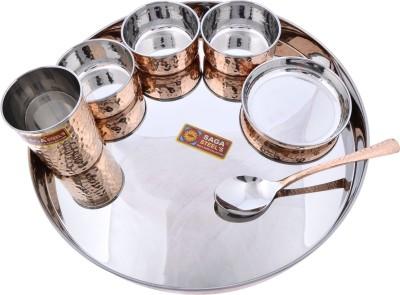 Dakshcraft Large Dinnerware Stainless Steel Copperware Platter Pack of 7 Dinner Set