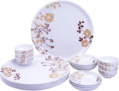 Mehul Glazed Melamine D-6001 Gala Exclusive Thali Set Pack of 18 Dinner Set