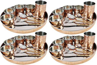 Dungri India Craft Dinner Set, Copper Stainless Steel Large Dinner Plate, Cutlery, Bowls, and Glass( 10 thaliset ) Pack of 100 Dinner Set