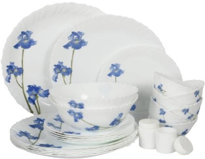 Laopala Blue Orchids Pack of 23 Dinner Set(Opalware, Glass)