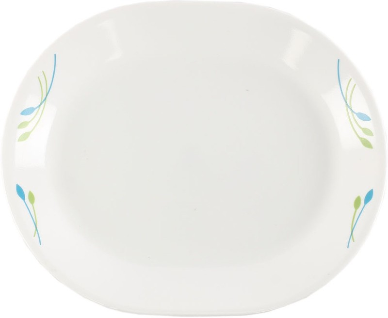 Corelle Rainbow Printed Glass Tray(Blue, Orange, White, Pack of 1)