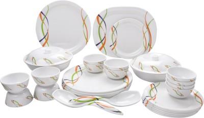 Mehul Glazed Melamine D-2011 Metro 31 Pcs Pack of 31 Dinner Set