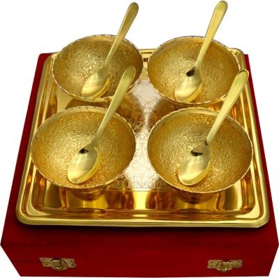 RajLaxmi GS 2 Tone Round Shape 4 Bowl & Trey with 4 Spoons Bowl Spoon Tray Serving Set(Pack of 9) at flipkart