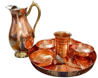 AsiaCraft Indian Traditional Dinner Set Pack of 9 Dinner Set(Copper)