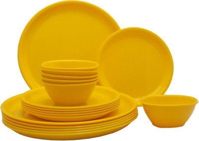 Parkhi Impex yellow18 Pack of 18 Dinner Set