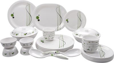 Mehul Glazed Melamine D-7001 Green polka Dot 31 Pcs Pack of 31 Dinner Set