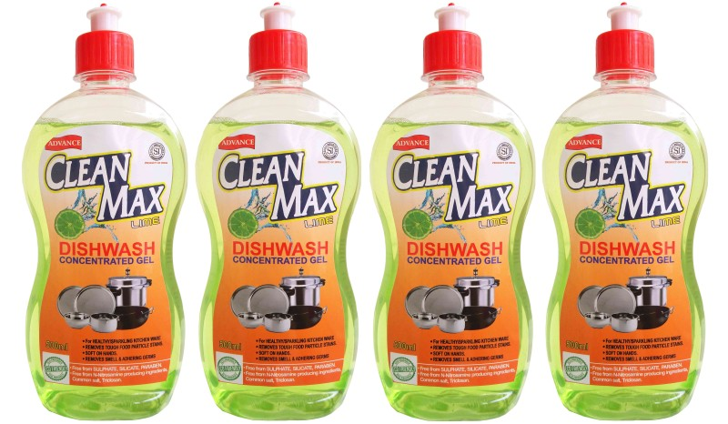 Cleanmax 500ml (Pack of 4) CONCENTRATED Dish Cleaning Gel(LIME)