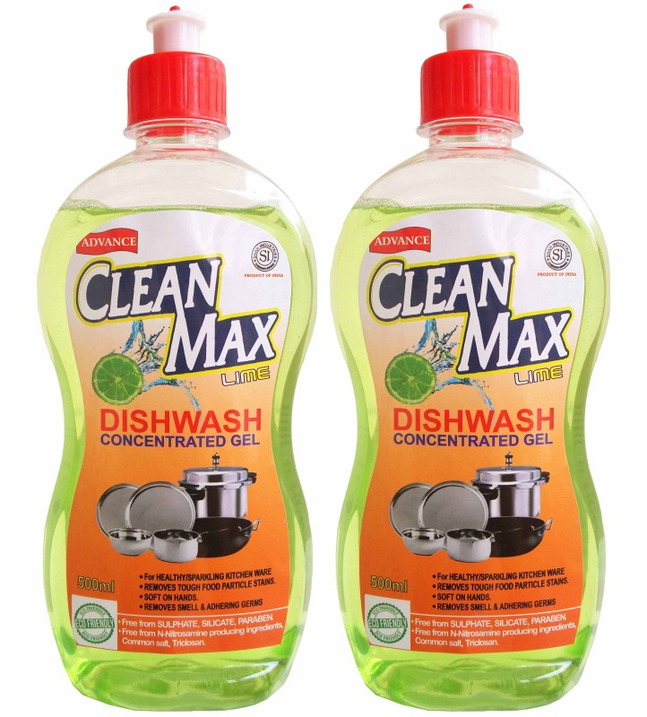 Cleanmax 500ml (Pack of 2) CONCENTRATED Dish Cleaning Gel(LIME)