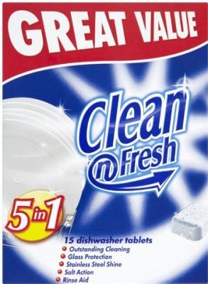 Clean N Fresh 5in1 Automatic Dishwasher 15 Tablets Original Dishwashing Detergent(15 Pod)