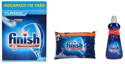 Finish Classic Power Ball Tablet 110 Units + Salt + Rinse Aid Dishwashing Detergent