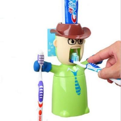 Magnusdeal Warrior Toothpaste Dispenser Plastic Bathroom Set