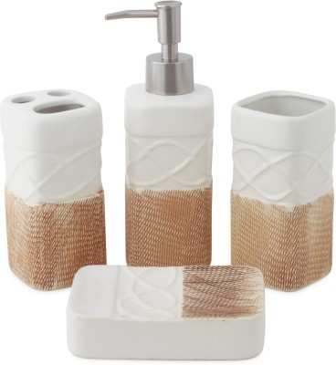 Chrome Jute Finish Ceramic Bathroom Set(Pack of 4)
