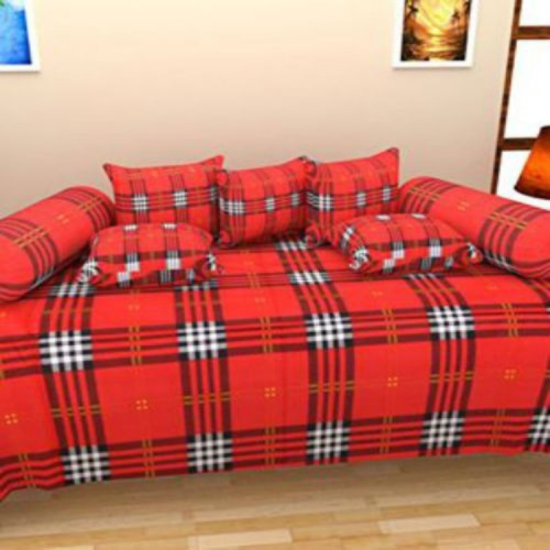 Creativehomes Cotton Checkered Diwan Set