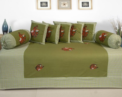 Optimistic Home Furnishing Cotton Embroidered Diwan Set