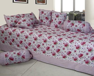 Optimistic Home Furnishing Cotton Floral Diwan Set