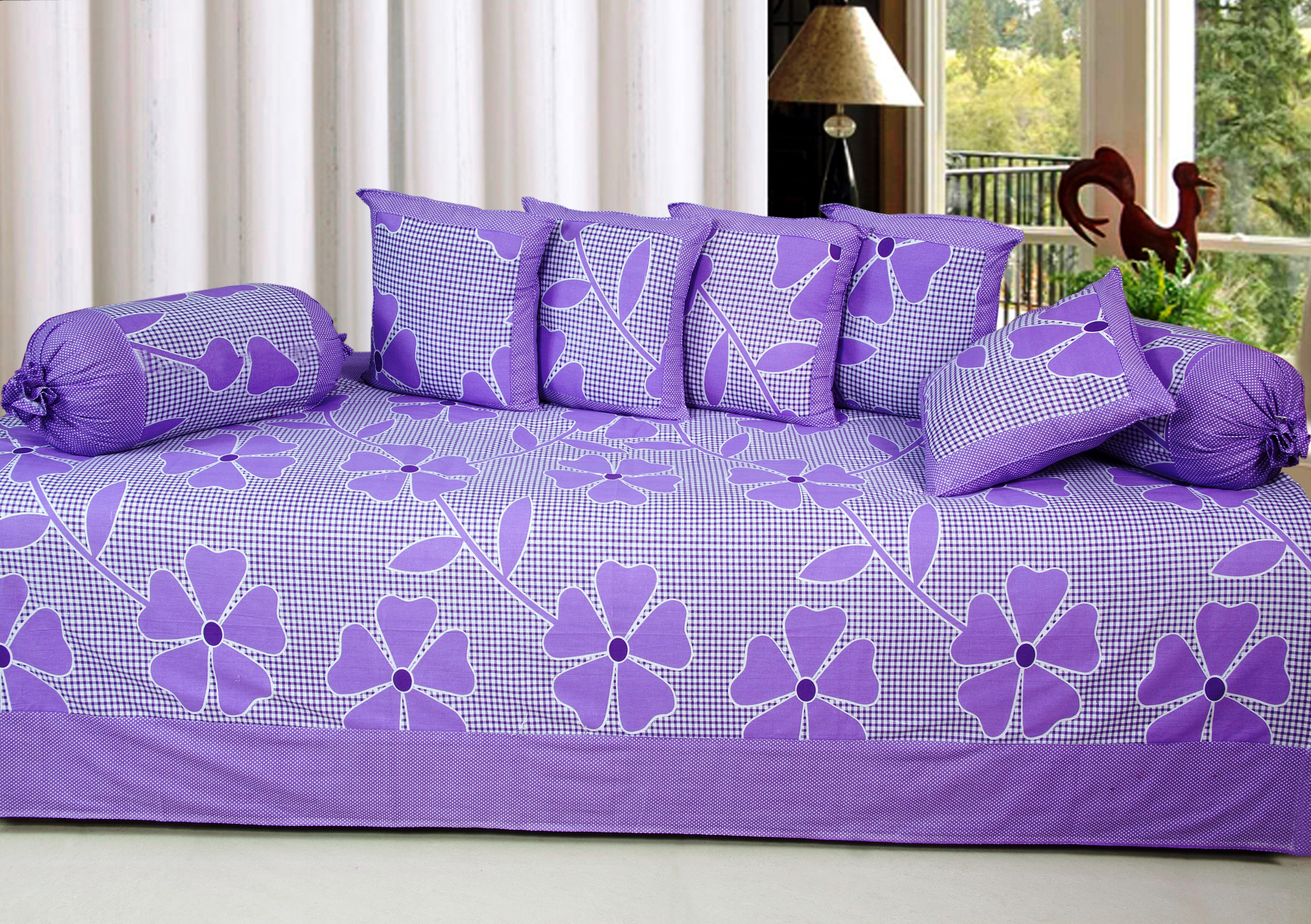 Optimistic Home Furnishing Cotton Floral Diwan Set
