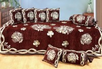 Optimistic Home Furnishing Chenille Floral Diwan Set