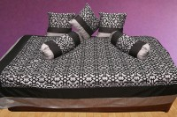 Zaffre's Polyester Geometric Diwan Set(Divan Cover - 1 No., Cushion Covers - 3 Nos., Bolster - 2 Nos.)