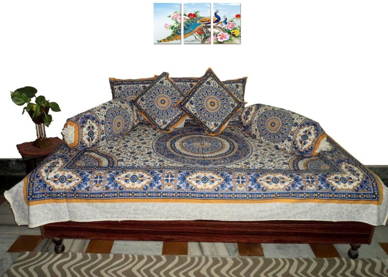 Amita Home Furnishing Cotton Abstract Diwan Set