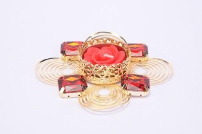 Shrisay Ventures Diwali Round Ring Shape Red Stone Steel Table Diya