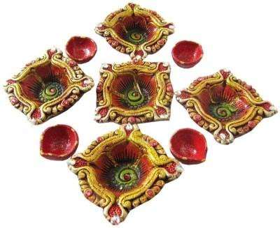 Creativity Centre Diwali Colorful Rangoli s N Shubh Labh Wall Hanging Terracotta Table Diya Set