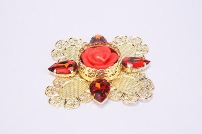 Shrisay Ventures Diwali Leaf Shape Stone (multi colour) Steel Table Diya