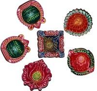 DakshCraft Elegant Colorful Decorative Diwali Diya Terracotta Table Diya Set(Height: 1 inch, Pack of 6)