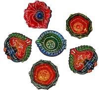 DakshCraft Indian Hand Printed Decorative Diwali Terracotta Table Diya Set(Height: 1 inch, Pack of 6)