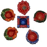 DakshCraft Home Decoration with Decorative Diwali Diya Terracotta Table Diya Set(Height: 1 inch, Pack of 6)