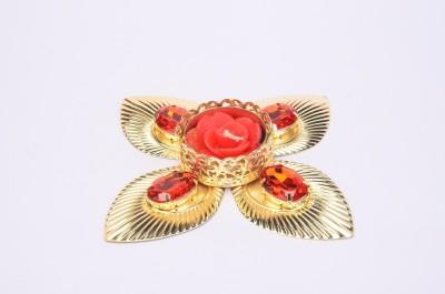 Shrisay Ventures Diwali Flower Shape Red stone Steel Table Diya
