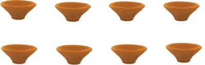 Sita Pottery Table Diya Set(Height- 1 inch, Pack of 8)