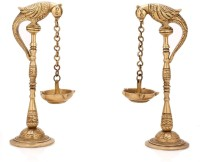 Aakrati Bird Deepak Oil Lamp Stand Pair Brass Hindu Religious Puja Art Fengshui Gifts Brass Table Diya Set(Height: 6.5 inch, Pack of 2)