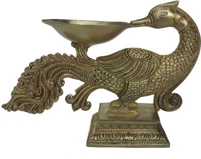Aakrati Brass Decorative Paecock Bird Oil Lamp Showpiece Brass Table Diya(Height: 5 inch)
