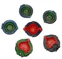 DakshCraft Hand Printed Decorative Diwali Terracotta Table Diya Set(Height: 1 inch, Pack of 6)