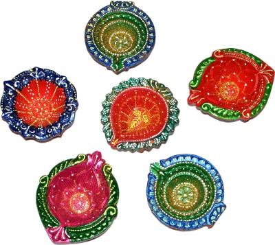 Dakshcraft Colorful Fancy Decorative Diwali Terracotta Table Diya Set