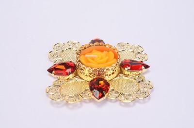Shrisay Ventures Diwali Flower Shape Red stone Orange Steel Table Diya
