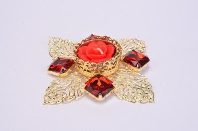 Shrisay Ventures Diwali Cut Leaf Shape Red Stone Steel Table Diya