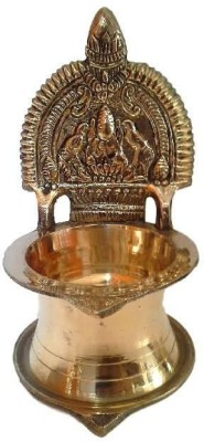 Divine Temples Artistic (12.5 cms) Brass Table Diya(Height: 4.92 inch)