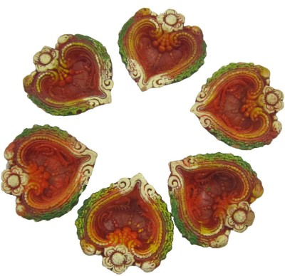Craft Art India Heart Shaped Dipawali / Diwali Tealight / Oil Lamps For Pooja / Puja - Set Of 6 Terracotta Table Diya Set