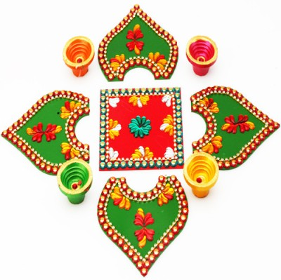 Ghasitaram Gifts Acrylic Red and Green Rangoli with Microfibre Table Diya Set(Pack of 2)